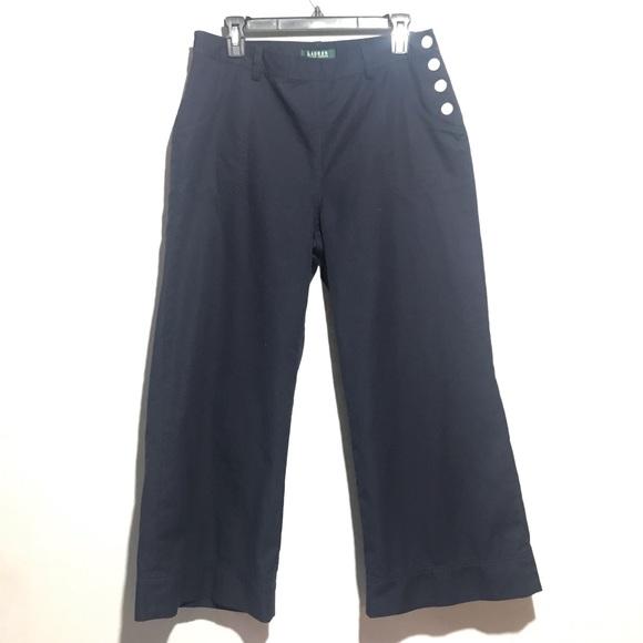 Ralph Lauren Pants - Ralph Lauren Wide Leg Capris, Sz 10, Navy